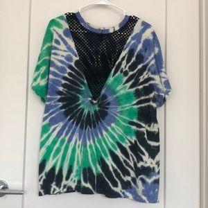 Forever 21 Mesh V-neck Tie Dye T-shirt
